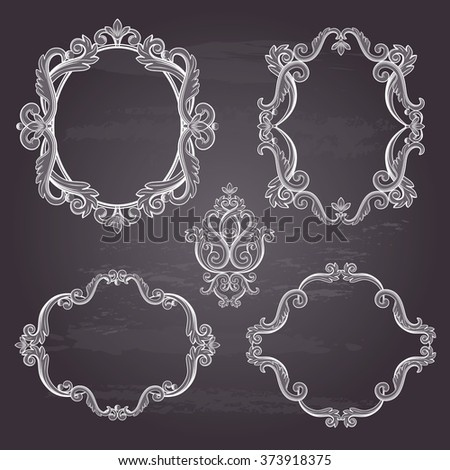 Set collection of baroque frames and sign isolated on chalkboard background. Vector illustration. Can use for birthday card, wedding invitations, damask pattern, page decoration... - stock vector