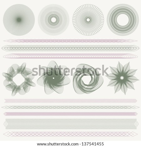 Set (collection) of colorful watermarks and borders. Guilloche pattern (line elements) for money design, voucher, currency, gift certificate, coupon, banknote, diploma, check, note. EPS 8 - stock vector