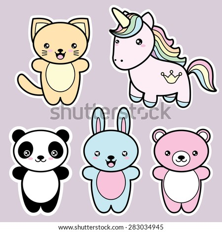 Set collection of cute kawaii style happy smiling animals. Decorative design elements in doodle Japanese style isolated on grey background. Vector illustration.  - stock vector
