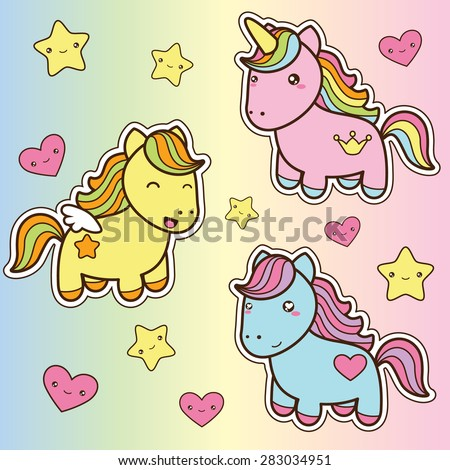 Set collection of cute kawaii style horses. Decorative bright colorful  design elements in doodle Japanese style isolated on colorful background. Vector illustration.  - stock vector