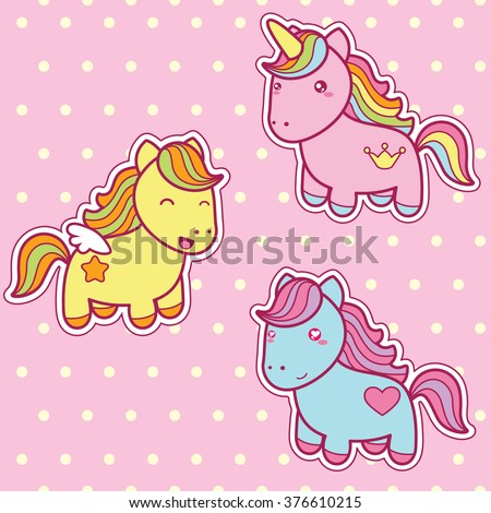 Set collection of cute kawaii style horses. Decorative bright colorful design elements in doodle Japanese style isolated on pink polka dot pattern background. Vector illustration.  - stock vector