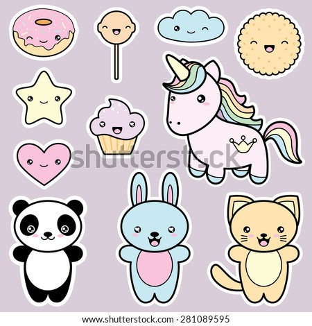 Set collection of cute kawaii style labels. Decorative design elements in doodle Japanese style isolated on grey background. Vector illustration.  - stock vector