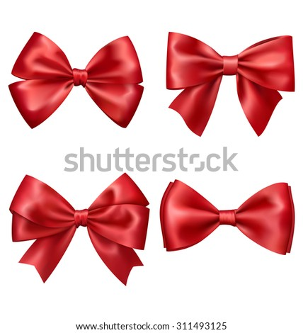 Set Collection of Festive Red Satin Bows Isolated on White Background - stock vector