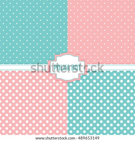 Set, collection of four simple modern polka dot seamless pattern backgrounds.