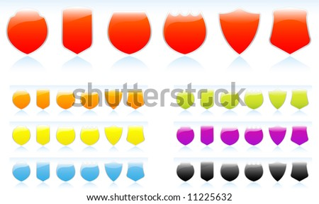 Set-collection of glossy shild icon images, red, orange, yellow, blue, green, purple and black - stock vector