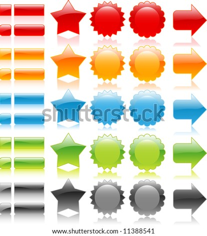 Set collection of glossy web icons, labels, badges, and arrows on white background - stock vector