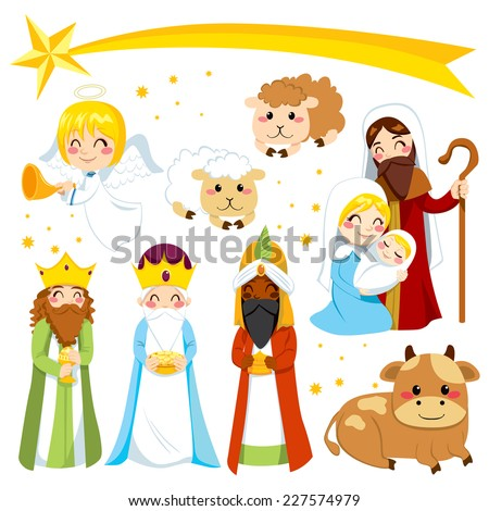 Set collection of isolated cartoon Christmas Nativity manger design elements - stock vector