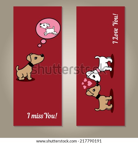 Set collection of love dark red love card with two cute dogs. Can be used for card to Valentine Day, greeting cards, invitations, banners or posters. Vector illustrations. - stock vector