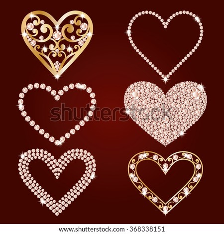 Set collection of shiny hearts. Made with diamonds and gold. Isolated on the burgundy background. Valentines day love symbols. Vector illustration. - stock vector