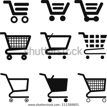 Set collection of vector shopping cart icons - stock vector