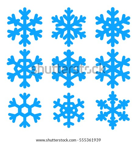 Set, collection of vector snowflakes. Flat icons, snow flakes silhouettes. Element for christmas and new year design.