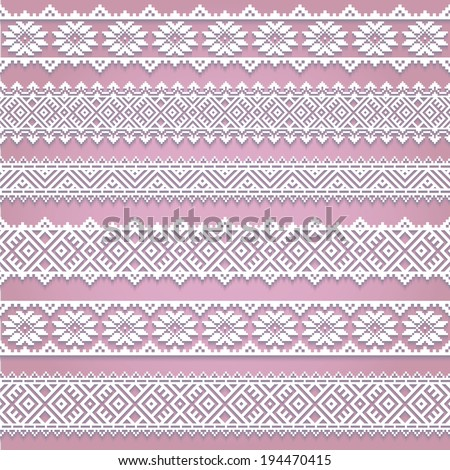 Set collection of white lace horizontal borders with shadow, ornamental paper lines isolated on pink background. Vector illustration. - stock vector