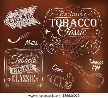 Set collection on tobacco and smoking a pack of cigarettes vintage tobacco cigar, pipe, all smoking on a brown background - stock vector