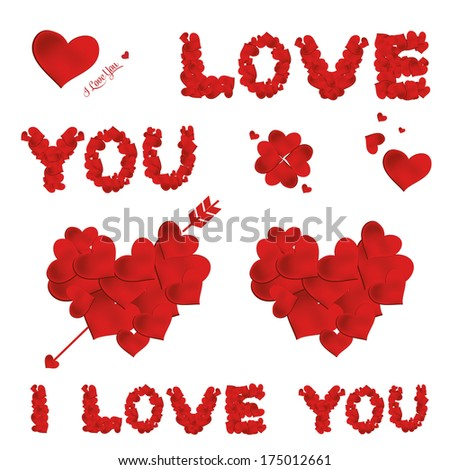 set Collection valentine's day Heart. Vector  - stock vector