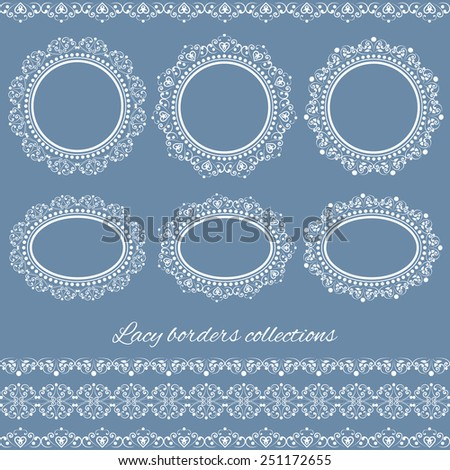 Set collections of vintage lacy borders and frames. White cute elegant elements isolated on blue background. Vector illustration. Can use for birthday card, wedding invitations - stock vector
