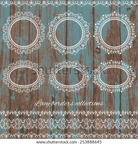 Set collections of vintage lacy borders and frames. White cute elegant elements isolated on blue colored grunge wooden background. Vector illustration. Can use for birthday card, wedding invitations - stock vector