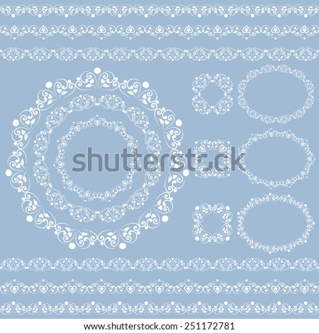 Set collections of vintage lacy borders and frames. White cute elegant elements isolated on soft sky blue background. Vector illustration - stock vector