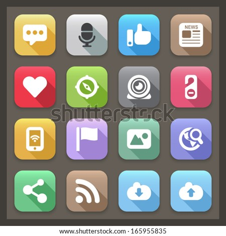 set color flat icons for social networks with shadow