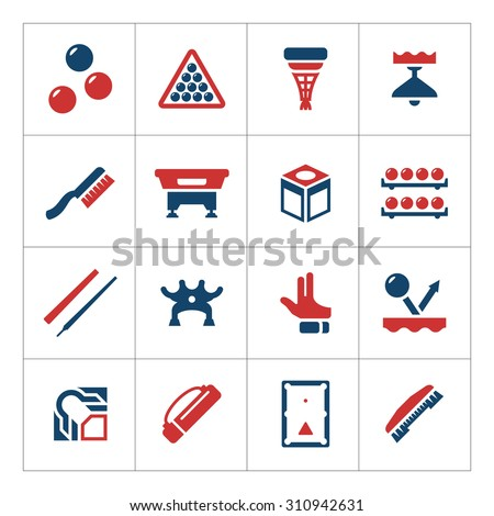 Set color icons of billiards, snooker and pool isolated on white. Vector illustration - stock vector