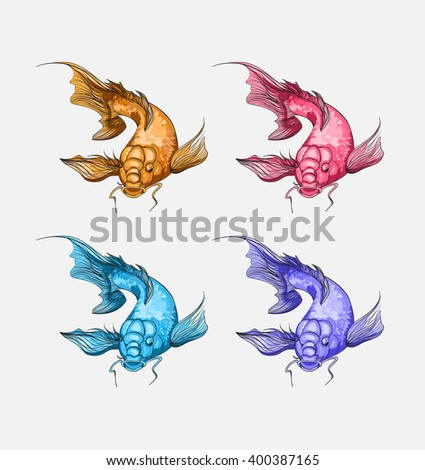 Set color koi fish tattoo style. Japanese print with koi fish. Vector art illustration - stock vector