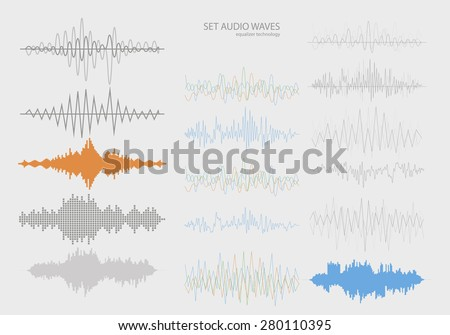 Set color sound waves . Audio equalizer technology, pulse musical. Vector illustration - stock vector