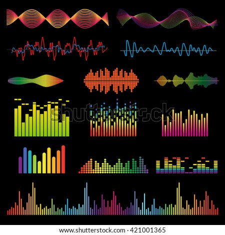 Set color sound waves colorful light audio signal design, digital music waves. Audio equalizer technology, pulse musical audio signal, music waves vector illustration. Audio signal and music waves. - stock vector