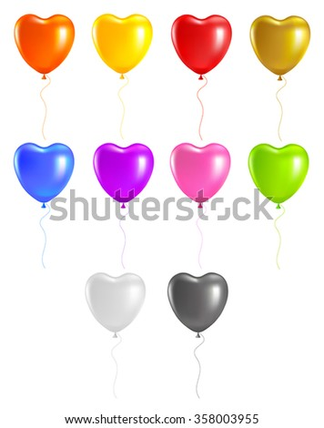 Set colored heart balloons. Isolated on white background
