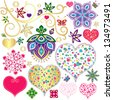 Set colorful design elements with hearts for scrapbooking isolated on white  (vector) - stock