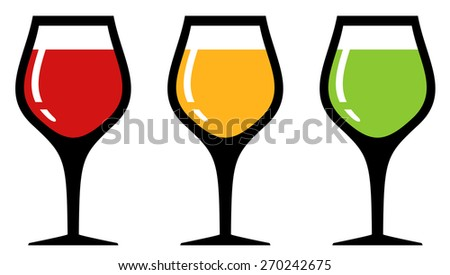 set colorful glass silhouette with alcohol beverage - stock vector