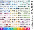 Set colorful icons: travel, computer, business, ecology, shopping, automotive, web, school and medicine - stock