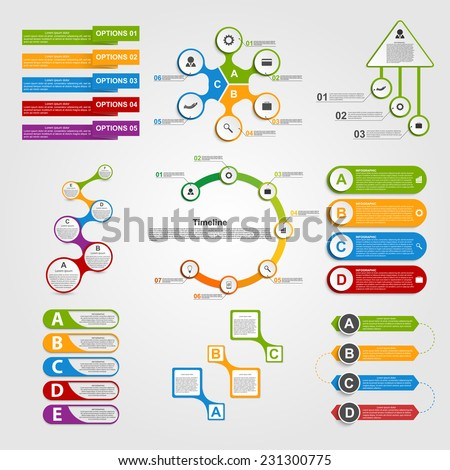 Set colorful infographics design elements. Vector illustration.  - stock vector