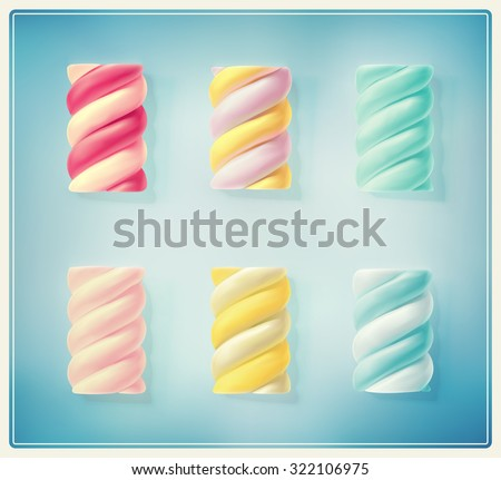 Set colorful twisted marshmallows, eps 10 - stock vector