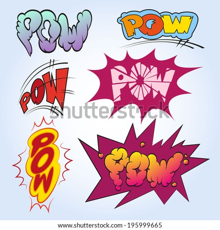 Set comic book explosion, vector illustration - stock vector