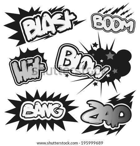 Set comic book explosion, vector illustration