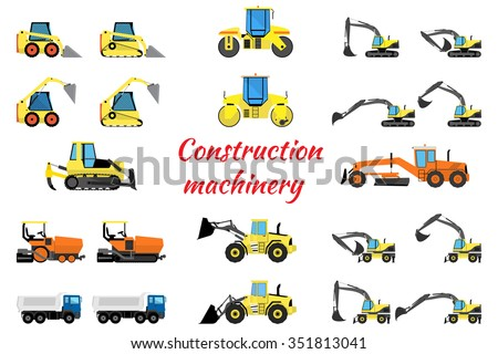 Set construction machinery - excavators, loaders, rollers, pavers and trucks - stock vector