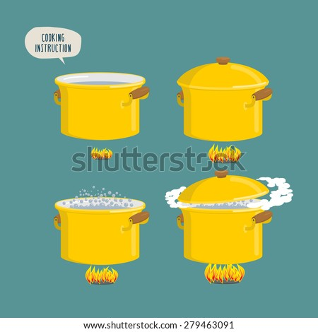 Set cooking plates. Boiling water for various dishes. Vector illustration - stock vector