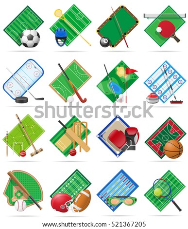 set court playground stadium and field for sports games flat icons vector illustration isolated on white background