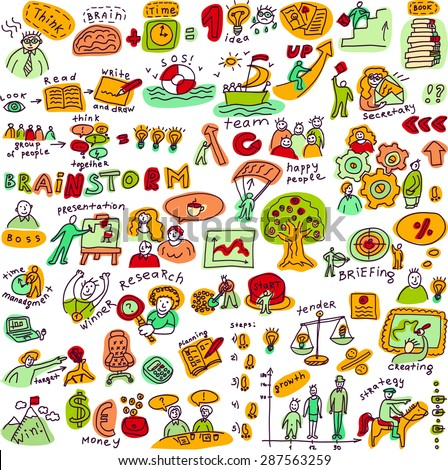 Set creative people color objects and icons isolated Big set with creative people, symbols and icons. Every object is separated. Color vector illustration. - stock vector