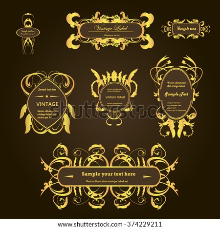 Set creative vintage labels with gold floral ornament. Vector illustration. - stock vector