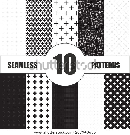 set cross patterns. Monochrome seamless pattern. Black and white pattern - stock vector