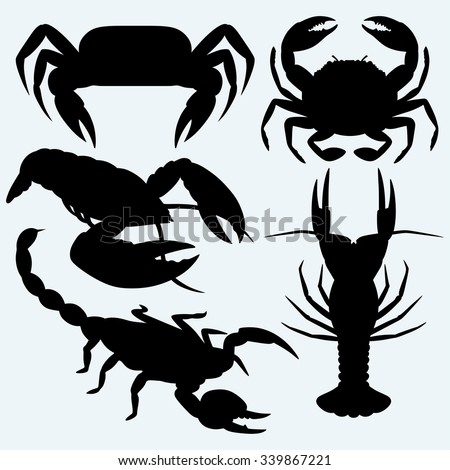 Set crustaceans. Isolated on blue background. Vector silhouettes - stock vector