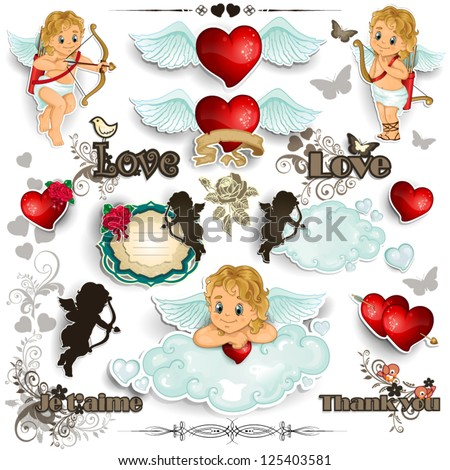 Set cupid hearts and decorations for valentine-transparency blending effects and gradient mesh-EPS 10 - stock vector