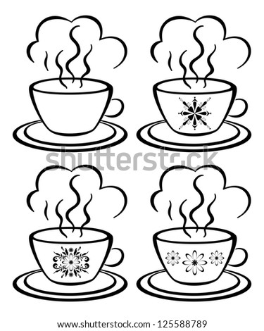 Set cups with a hot drink and floral pattern, black contour on white background. Vector - stock vector