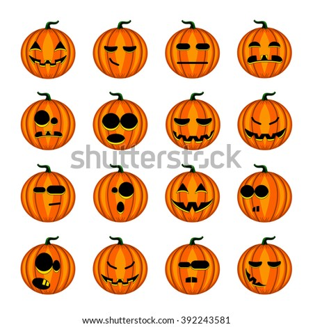 Set cute cartoon pumpkins  with different emotions. Halloween illustration.