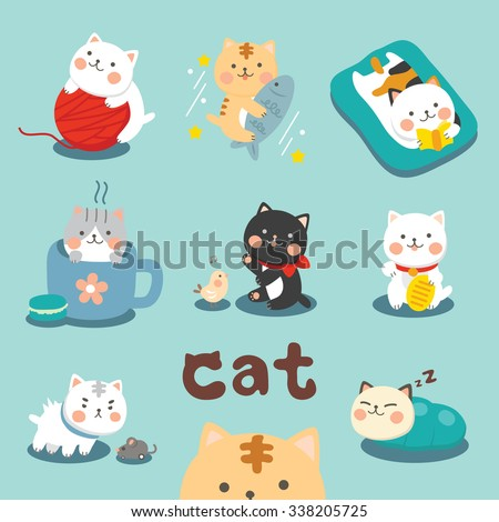 Set Cute Cat  - stock vector