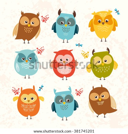 Set cute owls. colorful birds. vector illustration. - stock vector