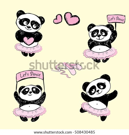 Set cute Panda Girl ballet dancer,hand drawn, vector illustration background