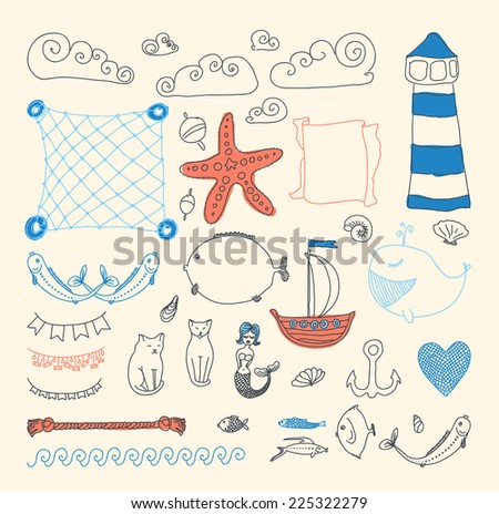 set cute retro sea objects collection. vector illustration - stock vector