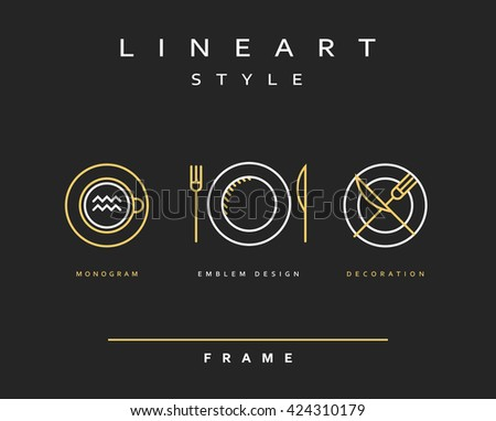 Set cutlery icons. Plate fork and knife . Template for food presentation , advertising text . Template for cafes, restaurants, bars, hotels. Beautiful , stylish sketch background - the template . - stock vector