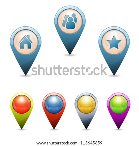 Set 3D Map Pointers with Icons - Home, People, Favorite, isolated. Easily Change the Color - stock vector